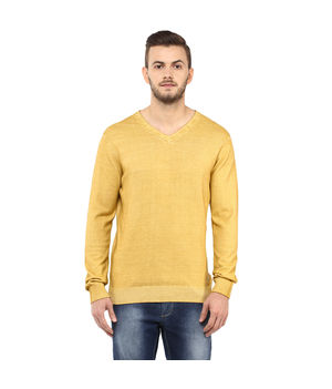 Solid V Neck T-Shirt,  mustard yellow, m
