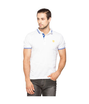 Solid Slim Fit Collar Tshirt, m,  white