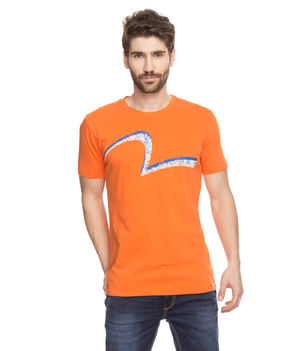 Printed Round Neck T-Shirt, s,  orange