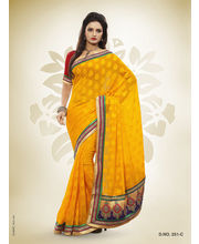 Touch Trends Marble Jaquard Designer Sarees - 251_ C, Yellow