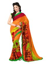 7 Colors Lifestyle Faux Georgette Printed Saree - ABESR555ASUHM, orange and green