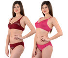 Mynte Bridal Lingerie Set, 32, maroon and rose pink