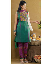 Playful Green & Magenta Kurta Churidar