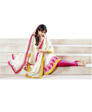 Hypnotex Crepe And Jacquard Designer Dress Material Ranjh2009, Cream