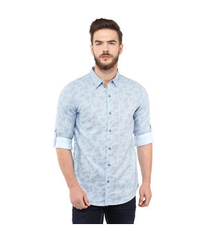 Printed Regular Slim Fit Shirt, m,  blue