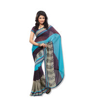 Fabdeal Chiffon Printed Saree(BHE10224ALD), Navy Blue