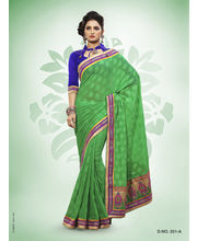 Touch Trends Marble Jaquard Designer Sarees - 251_ A, Green