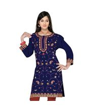 Fabdeal Women Navy Blue Cotton Kurti, navy blue, xl