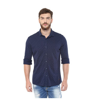 Printed Regular Shirt,  navy, xl