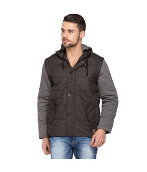 Hooded Regular Slim Fit Jacket, xxl,  black