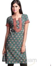 Attractive Block print cotton kurta with Zari work