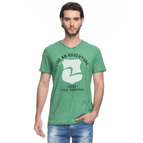 Printed V-Neck T-Shirt,  green, xxl