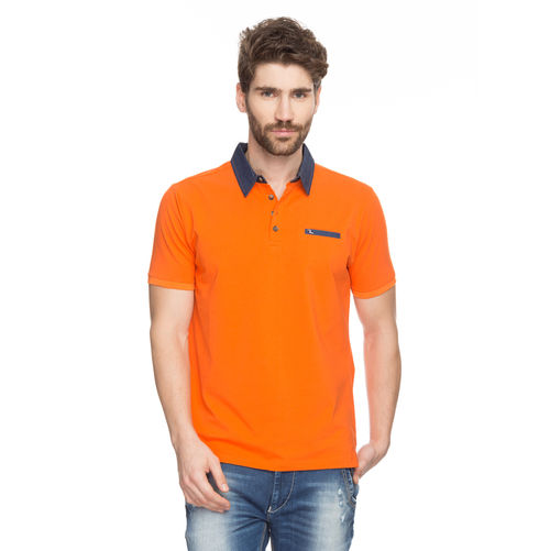 Solid Polo T-Shirt, xl,  orange