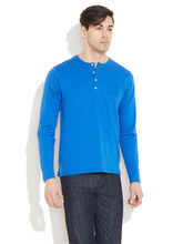 FREECULTR Cool Cotton Casual Henley Shirt, dark blue, m