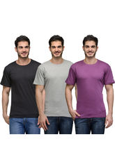 Urban Glory Pack of 3 Men's 100% Cotton Solid T-Shirt, s, multicolor