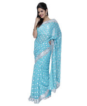 Fav Diva Silver Border Buti Work On Faux Georgette Saree, Multicolor