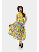 Shakumbhari Printed Long Dress Sw-129, Yellow, S