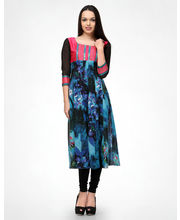 Shakumbhari Hand Embroid Georgette Anarkali Kurti - 1327, Blue, Xxl