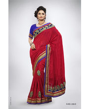 Meena Work With Velvet & Pearl Work Saree - 240_ D, Red