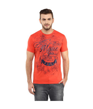 Printed Round Neck T-Shirt,  orange, s