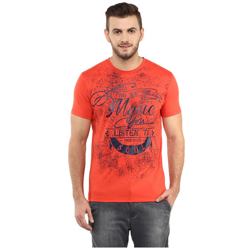 Printed Round Neck T-Shirt,  orange, xl