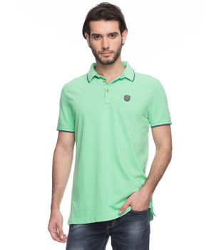 Solid Polo T-Shirt,  lime green, s