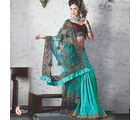 Women Net,satin Green Saree (Green)