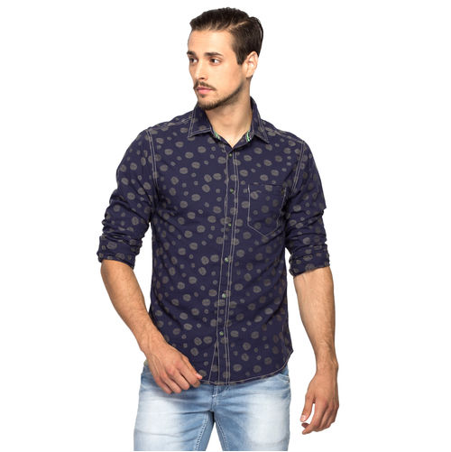 Printed Regular Slim Fit Shirt, xxl,  navy