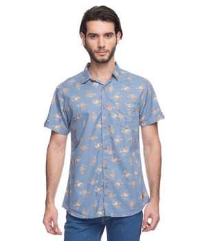 Printed Regular Slim Fit Shirt, xxl,  blue