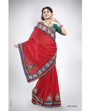 Heavy Pitta Work With Jari & Ready Lace Saree - 243_ A, Red