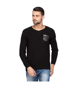 Solid Sweater With Leather Pocket, xxl,  black