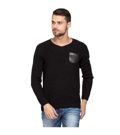 Solid Sweater With Leather Pocket, l,  black