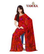 Vamika Printed Georgette Saree-VMS0091, Multicolor
