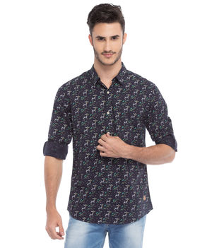 Printed Regular Slim Fit Shirt, s,  ink blue