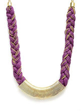 HOTBERRIES JEWEL Braided Thread Necklace With Metal Centre, Purple, Fs...