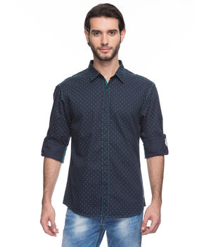 Printed Regular Slim Fit Shirt, s,  navy blue