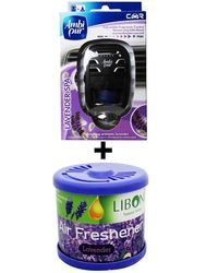 Car Perfume Ambi Pur 7ml Starter Kit & Liboni Air Freshner - Lavendor&Levendor, blue