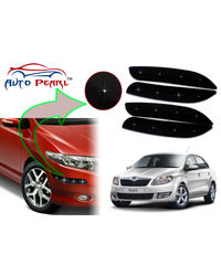 Auto Pearl - Premium Quality Car LED Blinking Bumper Protector for Skoda Rapid - Set of 4Pcs, black