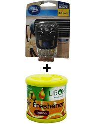 Car Perfume Ambi Pur 7ml Starter Kit & Liboni Air Freshner - Vanilla&Lemon, yellow