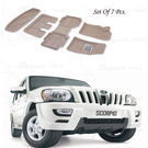 Shoppers Hub-3D Car Foot Mats for Mahindra Scorpio Beige (Set of 7), beige