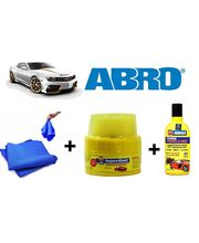 ABRO Car Cleaning kit (Shampoo Bottle+ Wax Polish+ Microfiber Cloth), multicolor