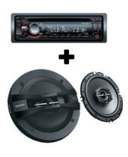 Sony Xplod CDX-G1070U Car CD/MP3 player+ 6 inches XS-GTF16382 Full Range 3-Way Car Speakers, black