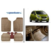 Speedwav 5 Pcs Set of Beige Odourless Washable Foot Mats for- Chevrolet Beat