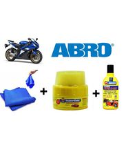 ABRO Bike Cleaning kit (Shampoo Bottle+ Wax Polish+ Microfiber Cloth), multicolor