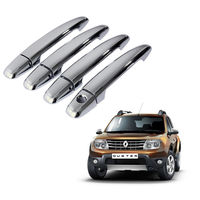 Auto Pearl - Premium Quality Chrome Door Handle Latch Cover - Renault Duster, silver