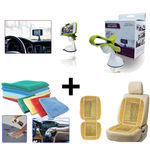 Combo of Car Micro Fibre Cleaning Cloth+ Wooden Bead Seat Cushion+ Mobile Holder, beige