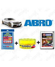 ABRO Car Cleaning kit ( Shampoo+ Wax Polish+ Microfiber Cloth), multicolor