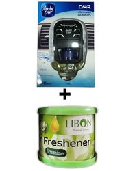 Car Perfume Ambi Pur 7ml Starter Kit & Liboni Air Freshner - Aqua&Jasmine, green