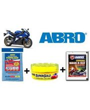 ABRO Bike Cleaning kit ( Shampoo+ Wax Polish+ Microfiber Cloth), multicolor