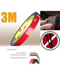 3M Double Faced Adhesive Tape for Automobiles Size 0.5 inch X 10 meters, Red